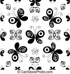 white-black, seamless, 패턴