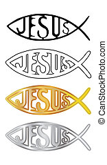 white, black, silver and gold christian fish symbol -...