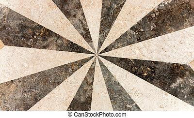 white black sunbeams tile floor texture pattern background