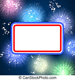 White blank background and fireworks