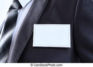 White Blank Badge on mens torso