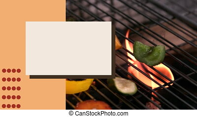 Animation of vegetables cooking on BBQ grill with white blank board and orange stripe in slow motion. Food recipe preparation concept digital composition.