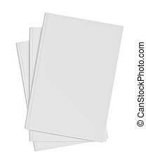 White blank books on white background