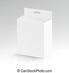 White Blank Cardboard Rectangle Vector. Realistic White Package