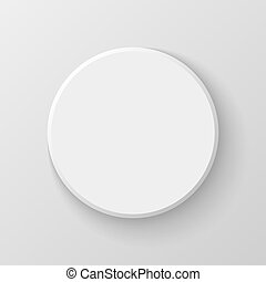 White Blank Circle Button Icon on Light Background. Vector