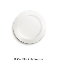 White blank clean plate template photo realistic vector illustration isolated.