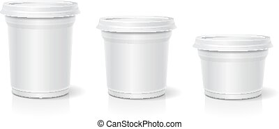 White blank container for dessert, yogurt, ice cream, Vector...