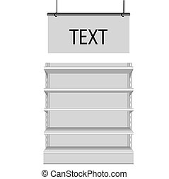 White Blank Empty Showcase Displays With Retail Shelves Front View 3D Products On White Background Isolated. Ready For Your Design.
