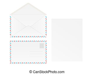 white blank envelope and paper