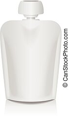White Blank Flexible Pouch With Big Top Cap For Baby Puree. Food Or Drink Bag Packaging Template