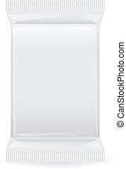Plastic pack - White blank foil packaging. Plastic pack....