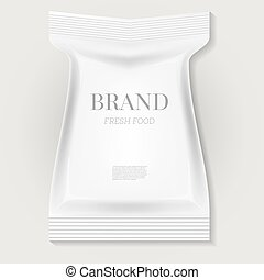 White Blank Food Snack Bag with Copy Space.