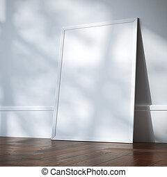 White blank frame in classic interior. 3d rendering
