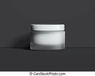 White blank jar for cream isolated on dark background. 3d rendering