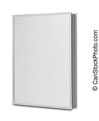 White blank linen book isolated - book in upright position...