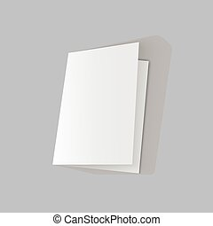 lying half-open blank fold paper brochure on gray background. Open magazine. Cover for your design