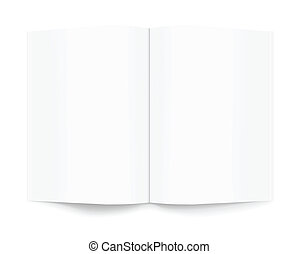 White blank magazine book opened on white