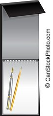 White blank notebook on black cover with pen and pencil