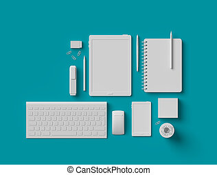 White blank office supplies 3d on turquoise blue background
