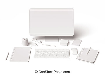 White blank office technology and supplies 3d on white background