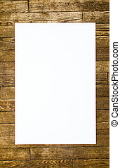 white Blank on the old wooden background