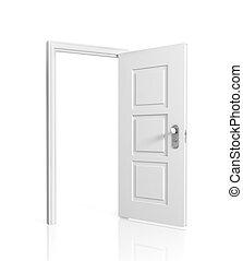 White blank opened door, isolated on white background.