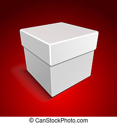 White Blank Paper Close Gift Box on Red Background