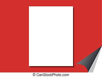 White blank paper on a red