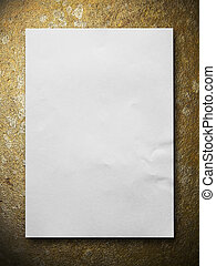 White blank paper on Gold stone