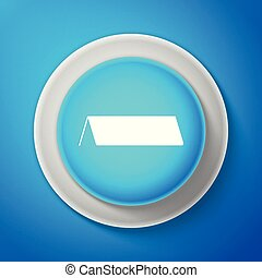 White Blank paper table card icon isolated on blue background. Tent card icon. Circle blue button with white line. Vector Illustration