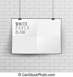 White Blank Paper Wall Poster Mock up Template Vector. Realistic Illustration. Brick Wall.