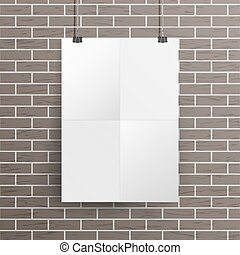 White Blank Paper Wall Poster Mock up Template Vector. Realistic Illustration. Template Frame Design