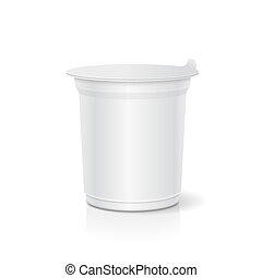 White blank plastic container for sour cream, yogurt, jams 3d illustration