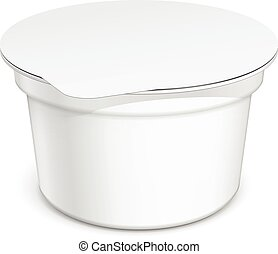 White blank plastic container for sour cream, yogurt, jams ...