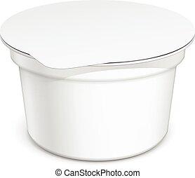 White blank plastic container for sour cream, yogurt, jams ...