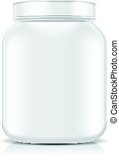 White Blank Plastic Jar isolated on white background. Sport...