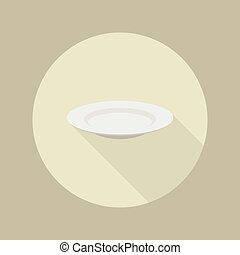 White blank plate flat icon