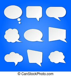 White blank retro speech bubbles vector set on blue background