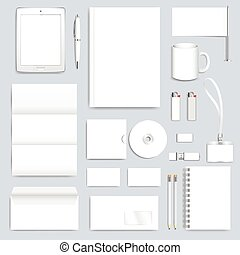 White blank set of vector corporate identity template. Modern business design presentation brochure, leaflet, envelope, card, badge, pen, pencil. Stationery clean mock-up.
