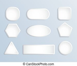 White blank square and round button stock vector set