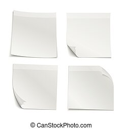 White blank stick note papers vector collection. Reminder ...
