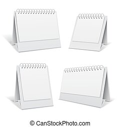 White blank table spiral 3d office calendars isolated vector illustration