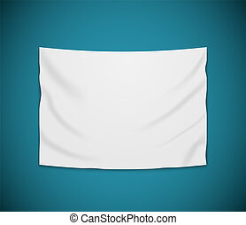 White blank vector banner textile. Empty hanging fabric banner illustration design