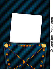 white blank with place for text in jeans pocket