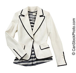 White blazer with striped t shirt - Fashion composition of...