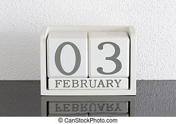 White block calendar present date 3 and month February