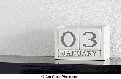 White block calendar present date 3 and month January