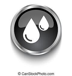 White Blood symbol on black glossy web button