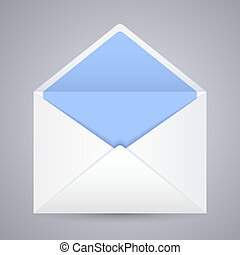 White blue blank envelope Isolated On Gray Background. Ready For Your Design. Vector EPS10