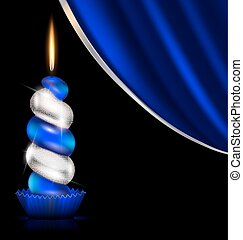white blue candle and drape - black background, dark blue...
